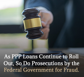 Judge Holding Gavel Judging PPP Fraud Cases
