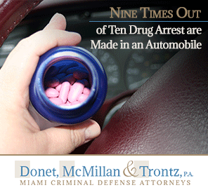 Picture of Drugs in an Automobile in Miami, Most Drug Crime Arrest are Made in Cars